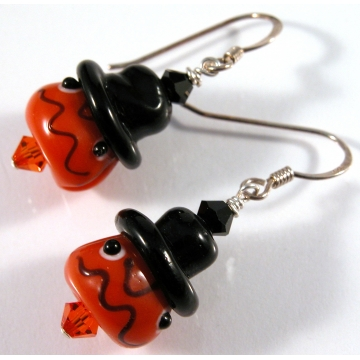 Pumpkin Face Earrings - black hat orange glass sterling silver artisan srajd cserpentDesigns halloween