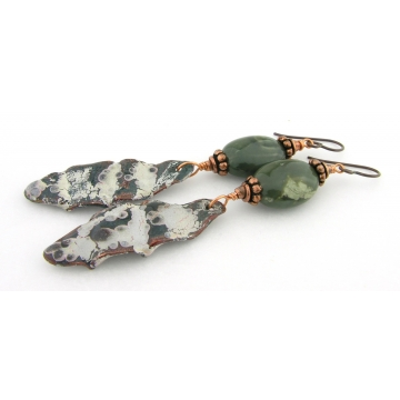 Ripples And Crackles Earrings - handmade artisan copper enamel organic green jasper gemstone srajd cserpentDesigns
