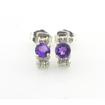 Ionic Amethyst Columns Earrings - purple amethyst gemstone post sterling silver handmade artisan srajd cserpentDesigns