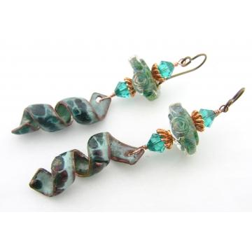 Teal Waters Earrings - handmade, teal artisan lampwork, raku enamel copper, dangle, wire wrapped, spiral, srajd cserpentDesigns