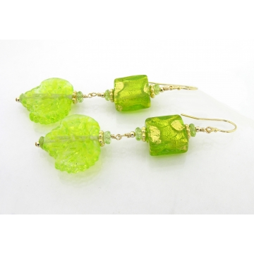 Peridot Leaves Earrings - lime green lampwork leaves peridot gemstones venetian glass gold fill srajd cserpentDesigns