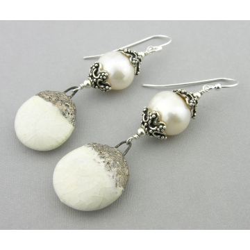 Winter Beauties Earrings - white freshwater pearl porcelain sterling silver handmade artisan srajd cserpentDesigns