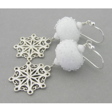 Snowballs and Snowflakes Earrings - artisan lampwork sterling silver snowflake handmade artisan srajd cserpentDesigns