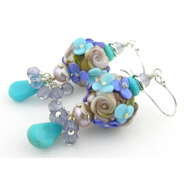 Blue Hues Earrings - handmade artisan lampwork sterling silver turquoise gemstone pearl iolite light blue dangle purple brown flower srajd cserpentDesigns