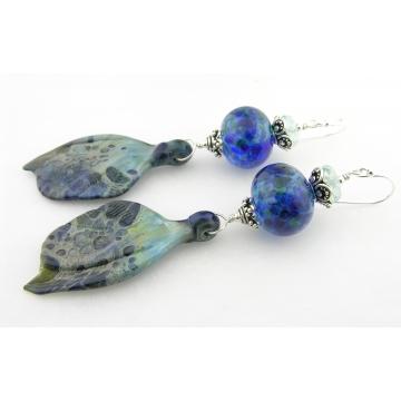 Sea Wings Earrings - handmade artisan lampwork wing sterling silver dark blue dangle srajd cserpentDesigns