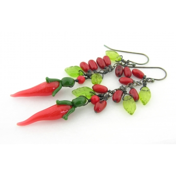 Red Chili Peppers Earrings - handmade, artisan lampwork hot pepper ristra, sterling silver, red coral, green glass leaves srajd cserpentDesigns