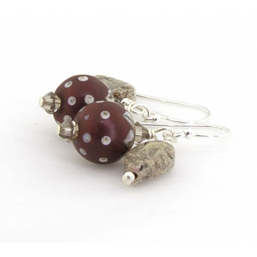 Berries and Leaves Earrings - handmade, artisan lampwork, sterling silver maroon brown jasper leaves srajd cserpentDesigns