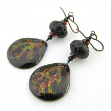 On Fire Earrings - handmade artisan organic enamel on copper with lava garnet black spinel niobium ear wires srajd cserpentDesigns