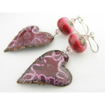 Crazy Hearts Earrings - red pink enamel heart dangle artisan copper valentine srajd cserpentDesigns
