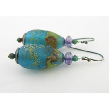 Aged Aqua Earrings - artisan lampwork sterling silver purple chrysocolla brown short drop srajd cserpentDesigns