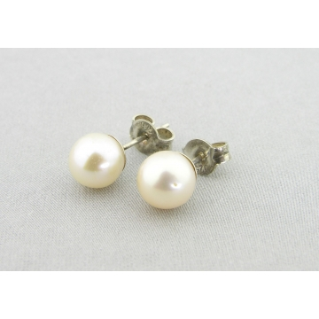 White Pearl Posts Earrings - white freshwater pearl post sterling silver handmade artisan srajd cserpentDesigns