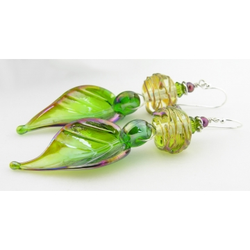 Spring Fresh Earrings - artisan lampwork glass leaf sterling silver spring green drop yellow cranberry freshwater pearl srajd cserpentDesigns
