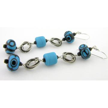 Black and Turquoise Earrings - handmade artisan lampwork blue black turquoise onyx gemstone sterling silver dangle stripes srajd cserpentDesigns