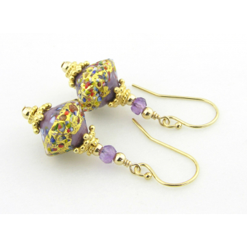 Golden Purple Klimt Earrings - gold filled gold leaf purple amethyst gemstone venetian sparkle gold vermeil handmade short srajd cserpentDesigns