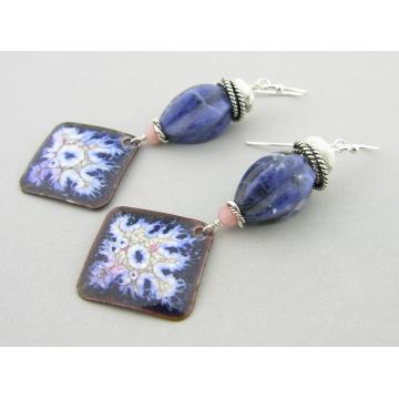 Fired Blues Enamel Earrings - handmade artisan copper blue white pink organic howlite sodalite pink opal sterling silver srajd cserpentDesigns