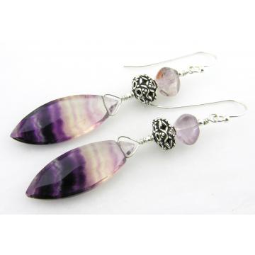 Purple Ripple Earrings - purple fluorite gemstone lampwork drop sterling silver handmade artisan srajd cserpentDesigns