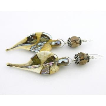 Patterns in Rock and Glass Earrings - handmade agate gemstone brown beige artisan lampwork leaves sterling silver dangle wire wrapped cserpentDesigns srajd