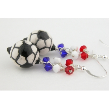 Red White Blue Soccer Earrings - handmade artisan sterling silver dangle soccer ball futbal calcio football usa france crystal july4 black srajd cserpentDesigns