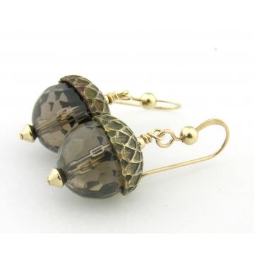 Smoky Quartz Acorn Earrings - smoky quartz gemstone light brown handmade artisan gold fill fall autumn srajd cserpentDesigns