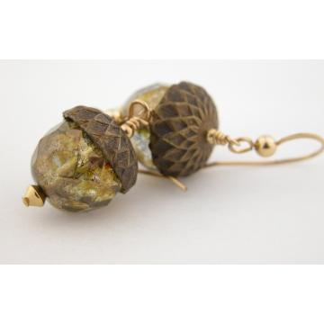 Golden Acorn Earrings - golden brown Czech glass handmade artisan gold fill fall autumn srajd cserpentDesigns