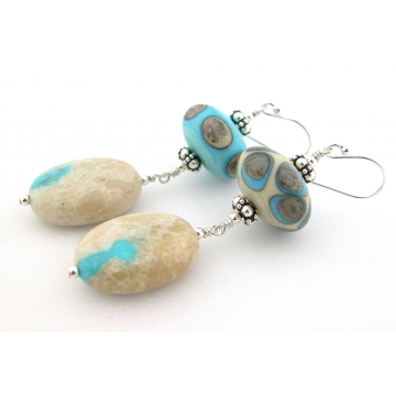 Aged Earrings - handmade ribbon turquoise gemstone artisan ivory lampwork gray dots sterling silver etched matte dangle wire wrapped cserpentDesigns srajd