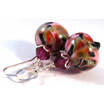 Pink Camo Earrings - handmade, artisan lampwork, sterling silver pink camouflage black fuchsia red olive srajd cserpentDesigns
