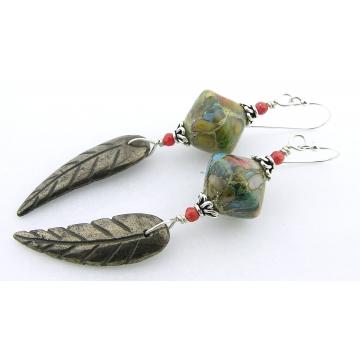 Golden Leaf Earrings - turquoise green brown handmade artisan lampwork gold pyrite gemstone red coral drop sterling silver srajd cserpentDesigns