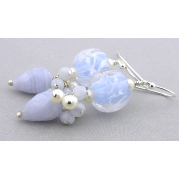 Frosty Blue Earrings - handmade artisan with light blue lace agate gemstone lampwork sterling silver white freshwater pearls dangle cluster srajd cserpentDesigns