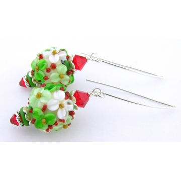 Christmas Florals Earrings - handmade artisan red green white flower lampwork crystals flowers sterling silver srajd cserpentDesigns