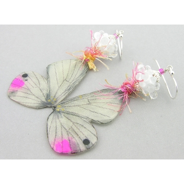 Touch of Pink Butterfly Earrings - handmade artisan white lampwork butterfly wings pink sterling silver srajd cserpentDesigns