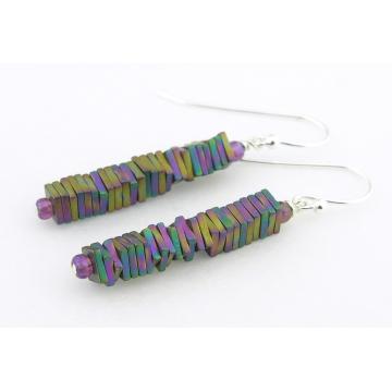 Rainbow Pyrite Column Earrings - handmade artisan pyrite gemstone rainbow titanium coated sterling silver srajd cserpentDesigns