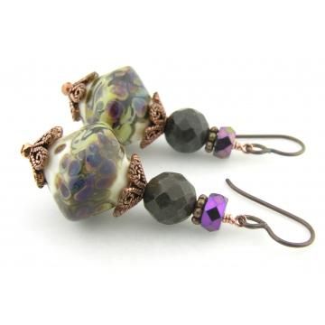 A Walk In The Petrified Woods Earrings - handmade artisan ivory yellow purple lampwork brown petrified wood gemstones copper srajd cserpentDesigns