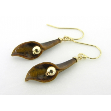 Tiger Eye Lilies Earrings - handmade artisan with brown tiger eye gemstone lily gold fill dangle srajd cserpentDesigns