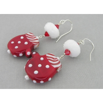 Snowballs and Mittens Earrings - white red silver lampwork dangle drop sterling silver Christmas handmade artisan srajd cserpentDesigns
