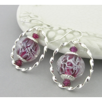 Ringed Garnet Wisps Earrings - handmade, artisan lampwork, sterling silver red white twisted ring srajd cserpentDesigns january birthstone