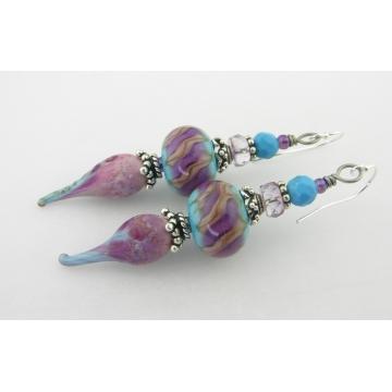 Rosey Turquoise Earrings - sleeping beauty turquoise pink rose purple lavendar silver lampwork dangle drip sterling handmade artisan srajd cserpentDesigns