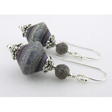 Ancient Purple Earrings - handmade artisan lampwork sterling silver purple white grey dinosaur bone srajd cserpentDesigns