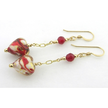 Red Venetian Hearts Earrings - gold filled drop white gold leaf valentine red quartz gemstone romantic sparkle handmade srajd cserpentDesigns