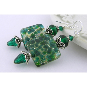 Green With Envy Earrings - artisan lampwork glass sterling silver dark green square drop Swarovski crystal srajd cserpentDesigns