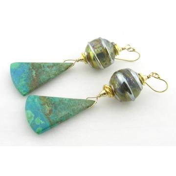 Golden Planet Earrings - handmade gold filled turquoise light green chrysocolla gemstone gold artisan lampwork triangle drop dangle srajd cserpentDesigns