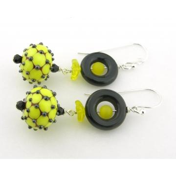 The Bees Knees Earrings - handmade artisan lampwork sterling silver black yellow onyx gemstone dots dangle srajd cserpentDesigns