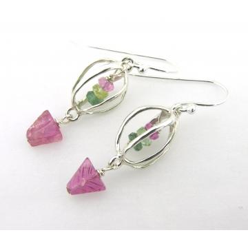 Spring Fling Earrings - artisan lampwork glass sterling silver green purple square Swarovski crystal srajd cserpentDesigns