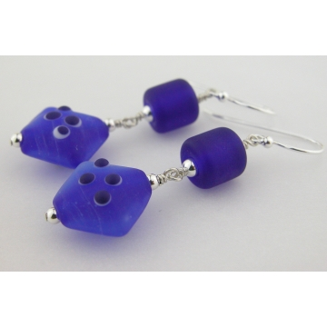 Blue For You Earrings - handmade artisan lampwork sterling silver dark blue barrel diamond shape spots white matte frosted dangle srajd cserpentDesigns