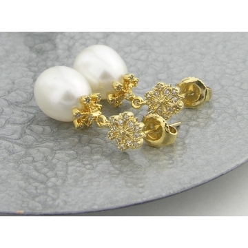 Golden Snowflakes Post Earrings - gold white freshwater pearls snowflake posts cubic zirconia dangle artisan gold vermeil srajd cserpentDesigns