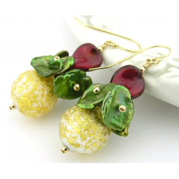 Golden Christmas Twist Earrings - green dyed freshwater keshi pearl red white gold Venetian bead cluster gold filled handmade artisan srajd cserpentDesigns