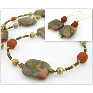 Fall Colors Necklace and Earrings Set - gold swarovski crystals mosaic creek jasper gemstones lampwork artisan srajd cserpentDesigns