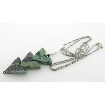 Kambaba Points Necklace - jasper gemstone green teal black  artisan sterling silver point arrow srajd cserpentDesigns