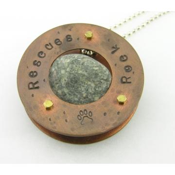Rescues Rock Necklace - copper brass nut screw granite rivet artisan sterling silver animal dog cat paw srajd cserpentDesigns