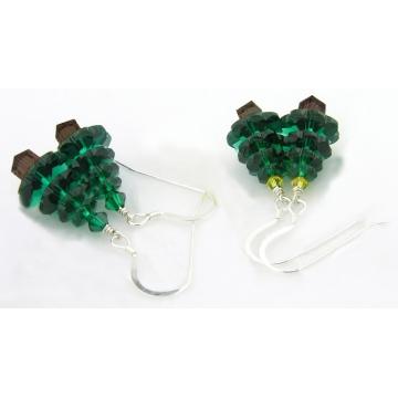 Crystal Christmas Tree Earrings - clear sparkle drop sterling silver handmade green Christmas artisan srajd cserpentDesigns