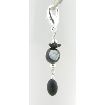 Black and White Stitch Marker - black jade venetian glass bead with flower silver handmade artisan srajd cserpentDesigns